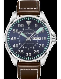 Chic Time   Montre Hamilton H64615545 Khaki Aviation Pilot automatique day-date cadran bleu sur cuir marron 42 mm    Prix : 7...