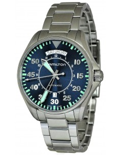 Chic Time | Montre Hamilton H64615145 Khaki Aviation Pilot automatique day-date acier cadran bleu 42 mm  | Prix : 760,50 €
