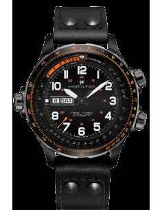 Chic Time   Montre Hamilton H77785733 Khaki Aviation X-Wind Day Date automatique acier PVD noir sur cuir noir 45 mm    Prix :...