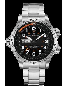 Chic Time | Montre Hamilton H77755133 Khaki Aviation X-Wind Day Date automatique acier cadran noir 45 mm  | Prix : 940,50€