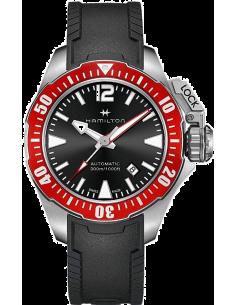 Chic Time | Montre Hamilton H77725335 Khaki Navy Frogman automatique acier cadran noir sur caoutchouc 42 mm  | Prix : 995,00€