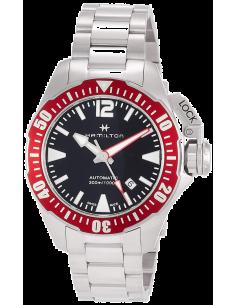 Chic Time   Montre Hamilton H77725135 Khaki Navy Frogman automatique acier lunette rotative cadran noir 42 mm    Prix : 895,50€