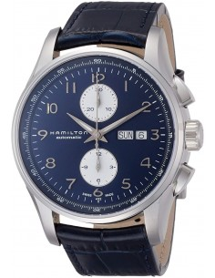 Chic Time | Montre Hamilton H32766643 Jazzmaster maestro automatique acier sur cuir bleu cadran bleu 45 mm  | Prix : 1,318.50