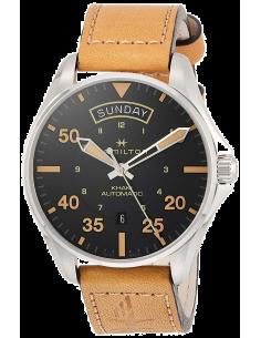 Chic Time   Montre Hamilton H64645531 Khaki Pilot Day Date automatique cadran noir bracelet désert 42 mm    Prix : 715,50€