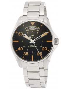 Chic Time | Montre Hamilton H64645131 Khaki Pilot Day Date automatique cadran noir bracelet acier 42 mm  | Prix : 845,00€