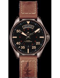 Chic Time   Montre Hamilton H64605531 Khaki Pilot Day Date automatique cadran noir bracelet cuir chocolat 42 mm    Prix : 805...