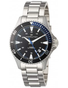 Chic Time   Montre Hamilton H82315131 Khaki Navy Scuba automatique acier cadran noir et bleu bracelet acier    Prix : 625,50€