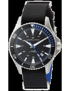 Chic Time | Montre Hamilton H82315931 Khaki Navy Scuba automatique acier cadran noir et bleu bracelet NATO  | Prix : 645,00€