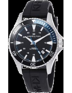 Chic Time | Montre Hamilton H82315331 Khaki Navy Scuba automatique acier cadran noir et bleu bracelet caoutchouc  | Prix : 62...