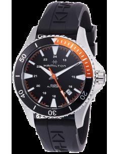 Chic Time   Montre Hamilton H82305331 Khaki Navy Scuba automatique acier cadran noir et orange bracelet caoutchouc    Prix : ...