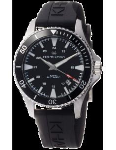 Chic Time | Montre Hamilton H82335331 Khaki Navy Scuba automatique acier cadran noir lunette noire bracelet caoutchouc  | Pri...