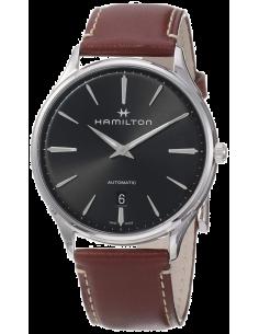 Chic Time   Montre Hamilton H38525881 Jazzmaster Thinline automatique acier cadran gris foncé bracelet cuir cerise 40 mm    P...