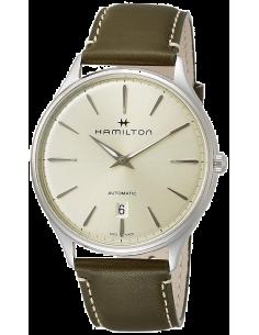 Chic Time | Montre Hamilton H38525811 Jazzmaster Thinline automatique acier cadran champagne bracelet cuir olive 40 mm  | Pri...