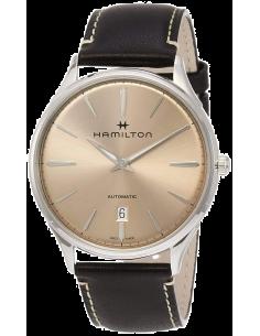 Chic Time   Montre Hamilton H38525721 Jazzmaster Thinline automatique acier cadran bronze bracelet cuir noir 40 mm    Prix : ...
