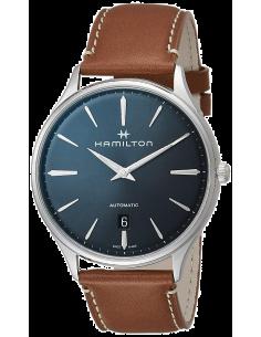 Chic Time   Montre Hamilton H38525541 Jazzmaster Thinline automatique acier cadran bleu nuit bracelet cuir marron clair 40 mm...