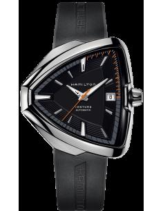 Chic Time | Montre Hamilton H24555331 Ventura Elvis80 automatique acier cadran noir bracelet caoutchouc  | Prix : 1,295.00