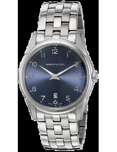 Chic Time   Montre Hamilton H38511143 Jazzmaster thinline quartz acier cadran bleu bracelet acier 42mm    Prix : 410,00€