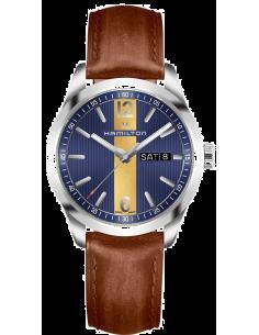 Chic Time   Montre Hamilton H43311541 Broadway quartz acier sur cuir marron 40 mm    Prix : 495,00€
