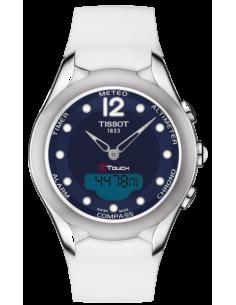 Chic Time | Montre Femme Tissot T-Touch T0752201704700 Cadran bleu et caoutchouc blanc  | Prix : 695,83€