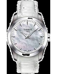 Chic Time | Montre Femme Tissot Couturier Grande Date T0352461611100 Bracelet en cuir blanc  | Prix : 258,30€
