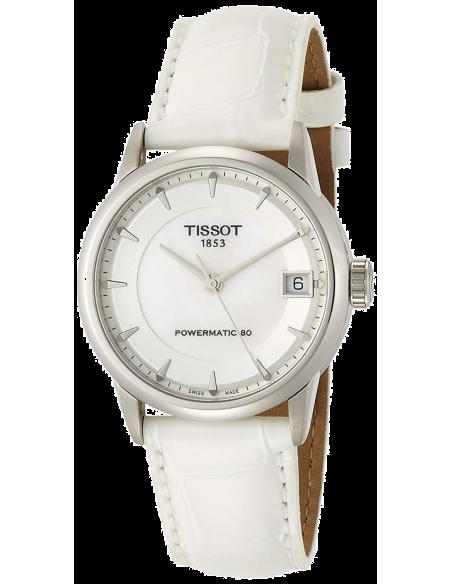 Chic Time | Montre Femme Tissot Luxury Automatic T0862071611100 - Bracelet Cuir Blanc  | Prix : 739,99€
