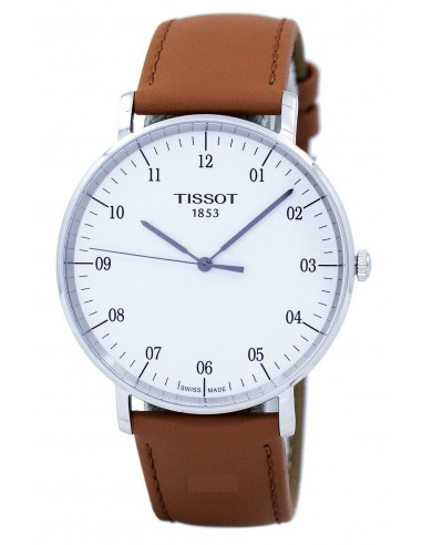 Chic Time   Montre Homme Tissot Everytime T1096101603700 Cuir camel    Prix : 191,67€