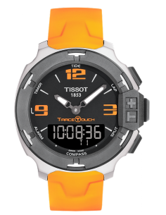 Chic Time | Montre Homme Tissot T-Race Touch T0814201705702 Bracelet caoutchouc orange  | Prix : 480,00 €
