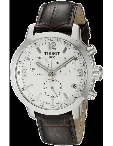 Chic Time | Montre Homme Tissot PRC 200 T0554171601701 Chronomètre Quartz Bracelet en cuir croco marron  | Prix : 479,00€