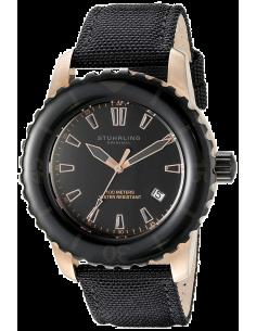 Chic Time | Montre Homme Stuhrling Original Aquadiver Vector 3266.02 Bracelet noir en cuir avec revêtement en nylon  | Prix :...
