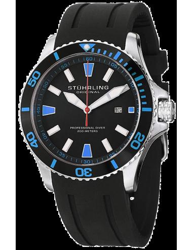 Chic Time   Montre Homme Stuhrling Original Aquadiver 706.02 Noir    Prix : 146,30€