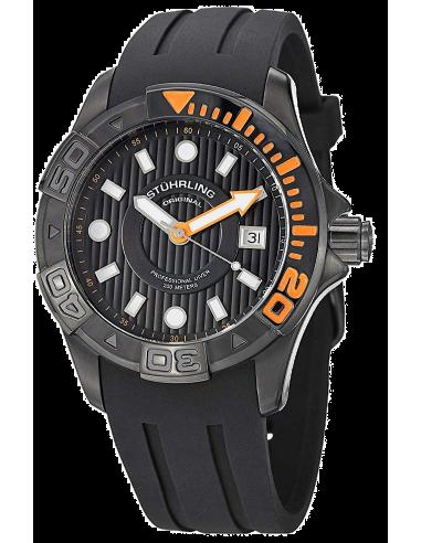 Chic Time   Montre Homme Stuhrling Original Aquadiver 718.04 Noir    Prix : 142,35€