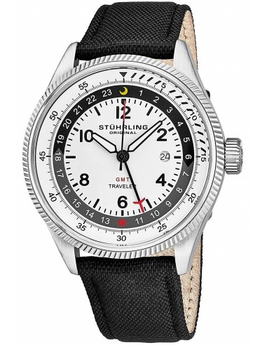 Chic Time   Montre Homme Stuhrling Original Aviator 789.01 Noir    Prix : 216,30€