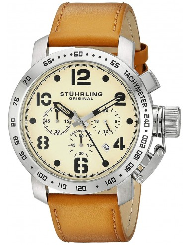 Chic Time | Montre Homme Stuhrling Original Aviator 641.01 Marron  | Prix : 209,30 €