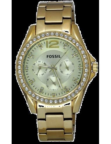 Chic Time | Montre Femme Fossil Riley ES3203 Chrono Acier poli coloris or avec strass  | Prix : 109,65€