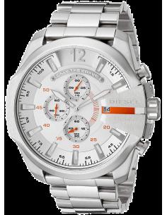 Chic Time | Montre Diesel Mega Chief DZ4328 Bracelet argenté et rehauts oranges  | Prix : 207,20€