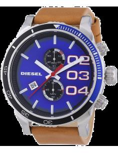 Chic Time | Montre Homme Diesel Double Down DZ4322 Bracelet en cuir brun et cadran bleu vif  | Prix : 203,15€