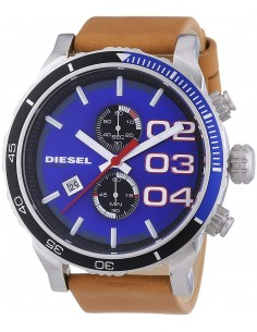 Chic Time | Montre Homme Diesel Double Down DZ4322 Bracelet en cuir brun et cadran bleu vif  | Prix : 239,00€