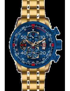 Chic Time | Montre Homme Invicta Aviator 19173 Cadran bleu et bracelet doré  | Prix : 143,40€