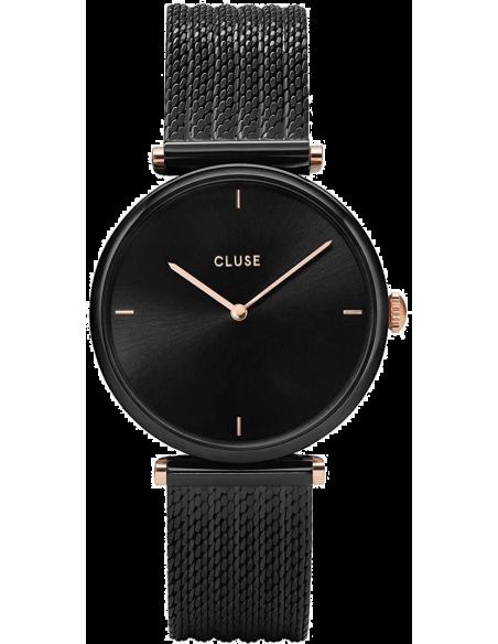 Chic Time | Montre Femme Cluse Triomphe Noir et Or Rose CL61004  | Prix : 77,35€