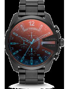 Chic Time | Montre Homme Diesel Mega Chief DZ4318 Boîtier et bracelet noirs en acier reflets iridescents  | Prix : 167,40€