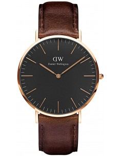 Chic Time | Montre Homme Daniel Wellington Classic Black Bristol Rose Gold DW00100125  | Prix : 132,30 €