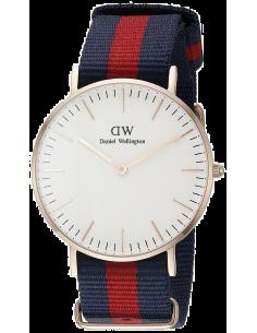 Chic Time | Montre Daniel Wellington Classic Oxford 0501DW Bracelet rouge et bleu foncé en tissu  | Prix : 69,50€