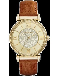 Chic Time | Montre Femme Michael Kors Catlin MK2375 Cuir marron et acier doré jaune  | Prix : 237,15€