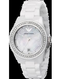 Chic Time | Montre Femme Emporio Armani Ceramica AR1426 Blanche & Diamants  | Prix : 287,20€