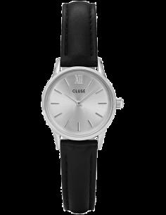 Chic Time | Montre Cluse La Vedette Silver CL50014 Bracelet en cuir noir  | Prix : 58,47€