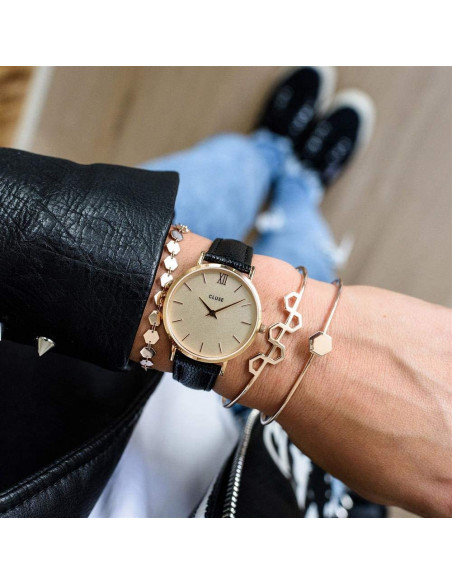 Chic Time | Montre Femme Cluse Minuit CL30051 Noir fond or rose  | Prix : 58,47€