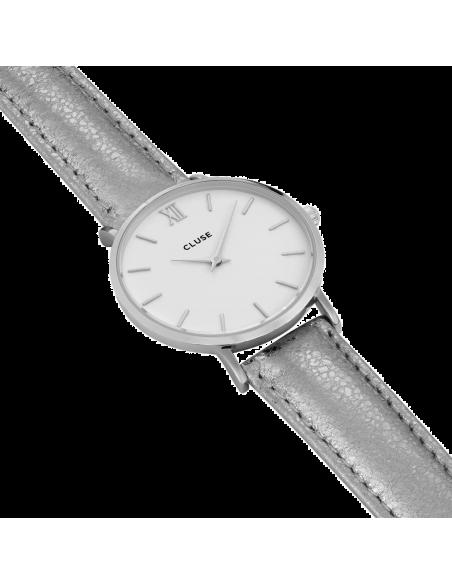Chic Time | Montre Cluse Minuit CL30039 Bracelet cuir gris électrique  | Prix : 89,95€