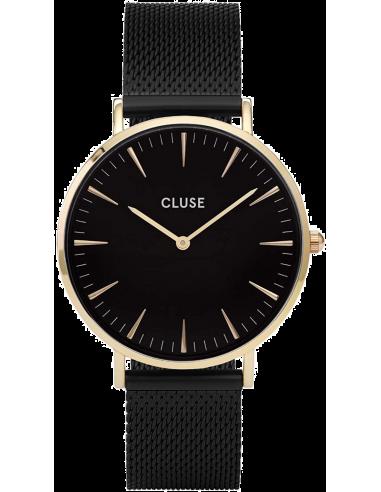 Chic Time | Montre Cluse La Bohème CL18117 Mesh Gold Black/Black Doré  | Prix : 99,95€