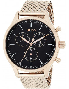 Chic Time | Montre Hugo Boss Companion 1513548 bracelet maille milanaise doré or rose  | Prix : 159,60 €