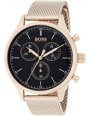 Chic Time | Montre Hugo Boss Companion 1513548 bracelet maille milanaise doré or rose  | Prix : 159,60€